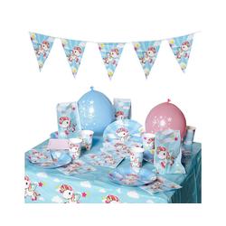 Folat Kindergeschirr-Set Partyset Einhorn, 68-tlg. blau