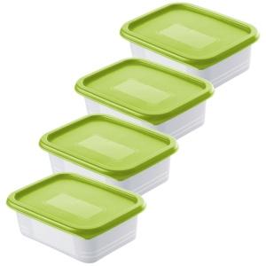 Rotho DOMINO Gefrierdosen, lime grün, Frischhaltedose mit Deckel, 1 Set = 4 x 0,5 Liter