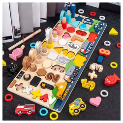 Arkmiido Lernspielzeug Montessori Holznummern Puzzle Set, Angelspiel Math Number Color Shape Sorting Stacking Board