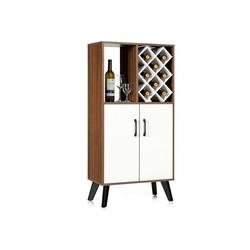 COSTWAY Weinschrank mit Weinregal Buffet Sideboard Beistellschrank Küchenschrank Aufwahrungschrank mit 8 Weinfächern, mit offenem Regal & Türen, für Küche Esszimmer Wohnzimmer