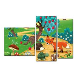 Bilderdepot24 Leinwandbild, Leinwandbild - Kinderbild - Tiere im Wald 130 cm x 80 cm