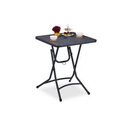 relaxdays Gartentisch Balkontisch mit Schirmloch klappbar grau