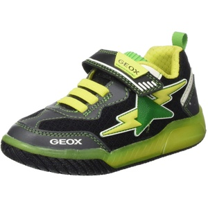 Geox Jungen J INEK Boy B Sneaker, Schwarz (Black/Lime C0802), 37 EU