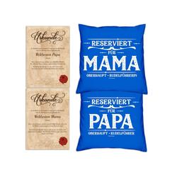 Soreso® Dekokissen Kissen-Set Reserviert für Papa Reserviert für Mama mit Urkunden, Geschenk Weihnachten Eltern blau