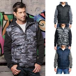 Herren Hooded Fleece Sleeved Puffer Vest | Burnside