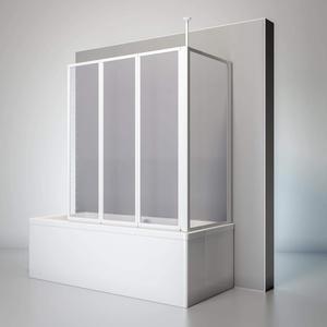 Schulte D1603 04 01 Duschwand Well mit Seitenwand, 129 x 140 x 75 cm, 3-teilig faltbar, Kunstglas Tropfen-Dekor, alpinweiß, Duschabtrennung für Wanne