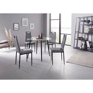 my home Essgruppe Danny + Mandy, (Set, 5-tlg), runder Glastisch, Ø 100 cm und 4 Esszimmerstühlen, Bezug aus Samtstoff grau
