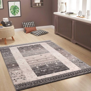 VIMODA Wohnzimmer Teppich Modern Meliert Kurzflor Oeko TEX Farbechtheit Pflegeleicht in Grau, Maße:160 x 230 cm