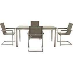 5tlg Tischgruppe Gartenmöbel Gartentisch Stuhl Garten Freischwinger Sessel Tisch