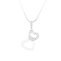 Stella Maris Herzförmige Damen Diamant-Kette aus Keramik