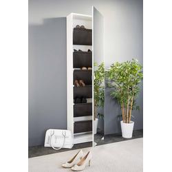 Schuhschrank in weiß mit 1 Spiegeltür, 6 Fächer, Maße: B/H/T ca. 50/180/20 cm