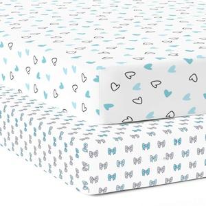 The white cradle-Spannbettlaken aus reiner Bio-Baumwolle für Babybettchen 120 x 60 cm Superweicher, glatter, saugfähiger, atmungsaktiver Köperstoff für Säuglinge, Babys - Blaue Herzen und Bogen