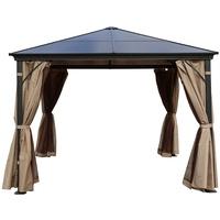 Outflexx Hardtop Pavillon grau/braun inkl. Seitenteile