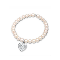 Elli Perlenarmband Herz Perle Kristalle 925 Silber 19 cm