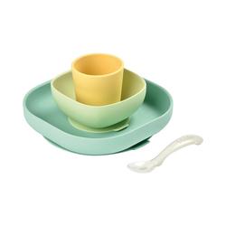 BÉABA Kindergeschirr-Set Geschirrset aus Silikon, 4-tlg., gelb gelb