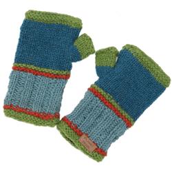 Guru-Shop Armstulpen Handstulpen, gestrickte Wollstulpen aus Nepal -.. gr�n