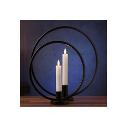 MARELIDA Kerzenhalter Stabkerzenhalter Ring schwarz 2er Set Kerzenständer Kerzenhalter Ringform schwarz