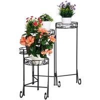 Relaxdays Relaxdays, schwarz Blumentreppe Metall, 5-stufig, rund, innen & außen, Vintage Blumenständer, klappbar, HBT 65x125x23cm