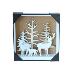 Deko LED Holzbild Hirschfamilie im Wald mit 3D Ansicht weiß