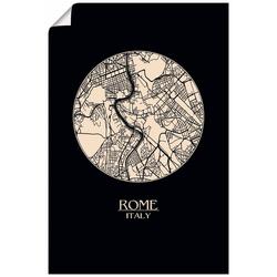 Artland Wandbild Retro Karte Rom Italien Kreis, Italien (1 Stück) 60 cm x 90 cm