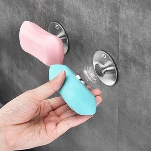 Fliyy Seifenhalter aus Edelstahl, magnetisch, stanzfrei, Wandmontage, Seifenschale, Seifenhalter, kreativer Seifenhalter für Badezimmer, 5 x 5 x 2 cm