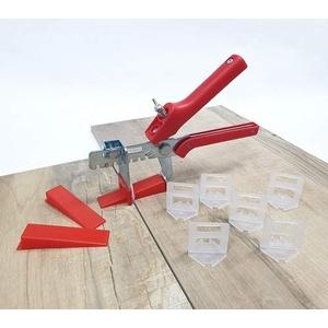 Fliesen Nivelliersystem Rot Fliesenstärke 3-12 mm Basis-Set 2 mm 100 Laschen 100 Keile + Zange -Verlegesystem Fliesenverlegung Fliesenverlegehilfe Fliesenverlegesystem Fliesennivelliersystem