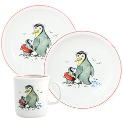 TRIPTIS® Thüringer Meisterporzellan Kindergeschirr-Set Pinguin (3-tlg), Porzellan, mit niedlichem Pinguin-Motiv, spülmaschinenfest