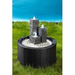 Ubbink Brunnenumrandung DecoWall Wicker 1 grau Teichdekoration Teiche Garten Balkon