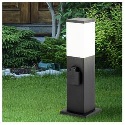 etc-shop LED Gartenleuchte, Wegeleuchte mit Steckdose Standleuchte Außen Gartensteckdose mit licht, 2x Steckdose Edelstahl schwarz, 1x E27, H 36 cm, Garten