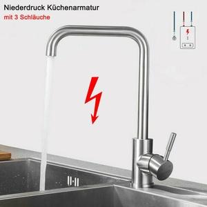 Niederdruck Küchenarmatur Wasserhahn Edelstahl Spültischarmatur Mischbatterie