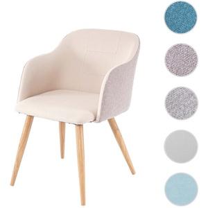 Esszimmerstuhl HWC-D71, Stuhl Küchenstuhl, Retro Design, Armlehnen Stoff/Textil ~ creme-beige