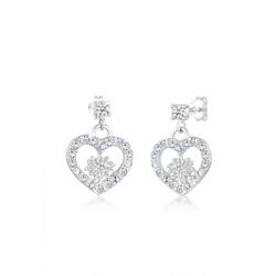Elli Paar Ohrhänger Edelweiss Herz Kristalle 925 Silber