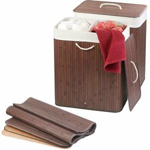 infactory 2er-Set Faltbare Bambus-Wäschekörbe mit Deckel und Wäschesack, braun
