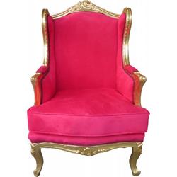 Casa Padrino Barock Lounge Thron Sessel Rot / Gold - Ohren Sessel - Ohrensessel Tron Stuhl