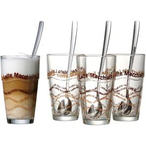 Ritzenhoff & Breker Latte-Macchiato-Glas, (Set, 4 tlg.), inkl. Longdrinklöffel farblos Gläser-Sets Gläser Glaswaren Haushaltswaren Latte-Macchiato-Glas