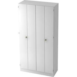 bümö Falttürenschrank OM-6900 Aktenschrank, Büroschrank für Ordner, Akten & Bücher mit 5 Ordnerhöhen - Dekor: Weiß/Weiß weiß