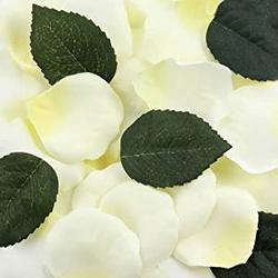 Textil Deko - Rosenblütenblätter 60 weiße & 10 grüne Blätter