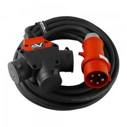 CEE Verlängerungskabel 10m 3-Wege Typ E franz/belg Norm H07RN-F 5x2,5mm Stromkabel Gummikabel 9238