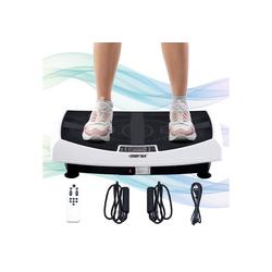 Merax Vibrationsplatte Athena 4D, 440,00 W, 3 Motoren Vibrationsplattform mit LED-Licht und Bluetooth-Lautsprecher weiß