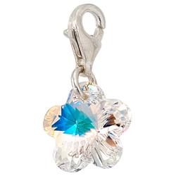 JOBO Charm Blume Blume, 925 Silber mit Kristallstein