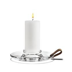 HOLMEGAARD Kerzenleuchter Design With Light Kerzenhalter Ø17 cm aus Glas mit dekorativem Ledergriff; Blockkerzenleuchter
