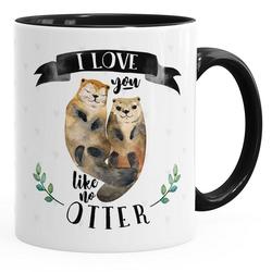 MoonWorks Tasse Kaffee-Tasse Otter Pärchen I love you like no otter Geschenk Liebe Spruch Kaffeetasse Teetasse Keramiktasse MoonWorks®, Keramik schwarz