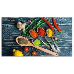 Artland Küchenrückwand Gewürze in Metalllöffeln, (1-tlg) 100 cm x 55 cm x 0,3 cm