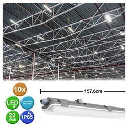 etc-shop Außen-Deckenleuchte, 10er Set 22 Watt LED Wannen Lampen Tages Licht Lager Hallen Keller Feucht Nass Raum Decken Lampen