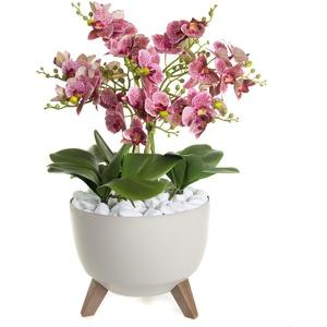 Künstliche Rosa Orchideen Phalaenopsis in einem Blumentopf Sechs Orchideenzweigen | Handarbeit