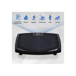 Masbekte Vibrationsplatte, 4D-Vibrationsplatten Trainingsgerät, dreimotorige 4D-Vibrationsplattform mit LED-Licht und Bluetooth-Lautsprecher, Ganzkörper-Vibrationsgerät für Heimfitness schwarz