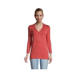 Henleyshirt mit 3/4-Ärmeln, Damen, Größe: 48-50 Normal, Rot, Viskose, by Lands' End, Nautisch Rot - 48-50 - Nautisch Rot