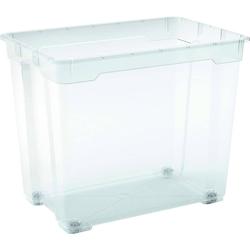 Aufbewahrungsbox mit Rollen 78 Liter Transparent