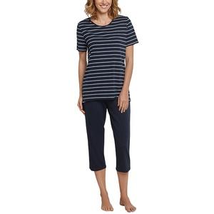 Schiesser Damen Zweiteiliger Schlafanzug, Blau (Gestreift Nachtblau 804), 38 (Herstellergröße: 038)