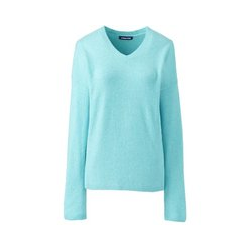 Bouclé-Pullover mit V-Ausschnitt - L - Blau